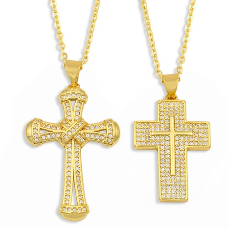 new micro-inlaid zircon hip hop cross necklace NHAS309382's discount tags