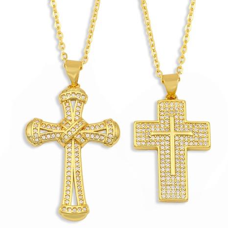 nuevo collar cruzado de hip hop con micro incrustaciones de circón NHAS309382's discount tags