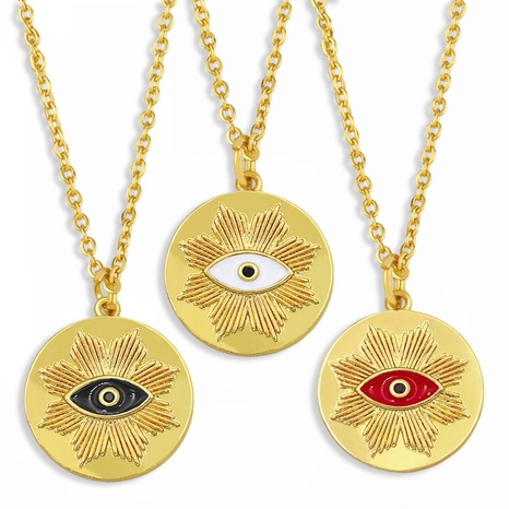 new eye pendant geometric oil necklace NHAS309385's discount tags