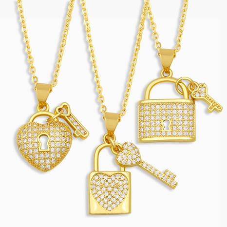 creative fashion diamond lock necklace NHAS309387's discount tags