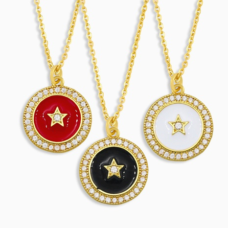 simple geometric five-pointed star pendant necklace NHAS309388's discount tags