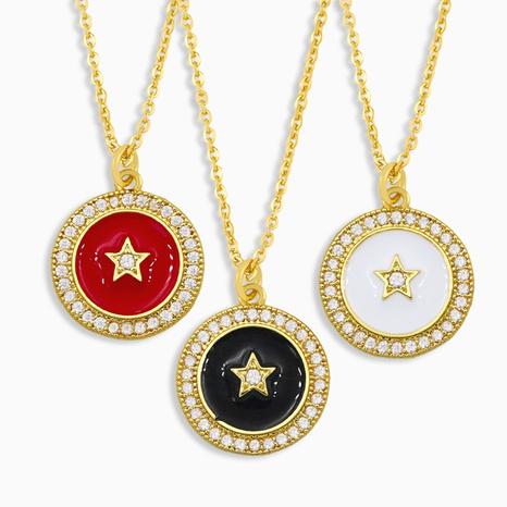 collar con colgante de estrella geométrica simple de cinco puntas NHAS309388's discount tags