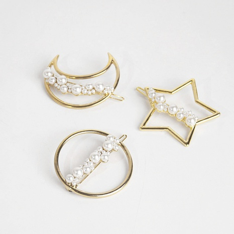 nouvelle épingle à cheveux perle ronde étoile de lune en métal NHAR309511's discount tags