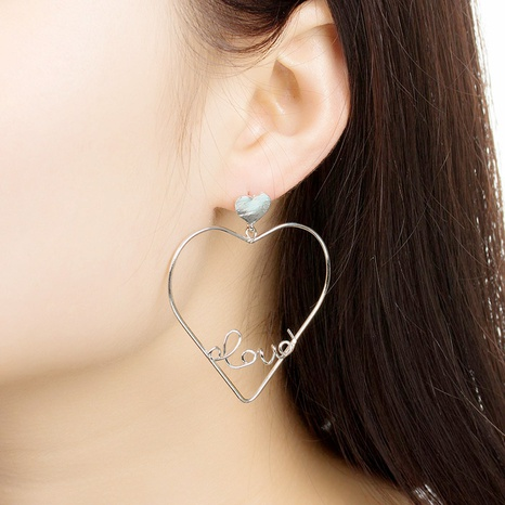 hollow peach heart letters LOVE earrings NHDP309553's discount tags