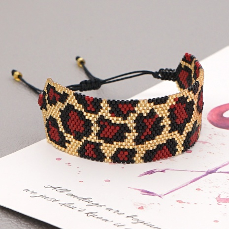 Mode Leopardenmuster Perlen breites Armband NHGW309648's discount tags