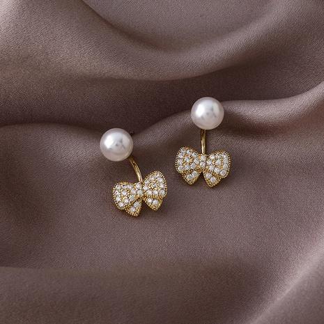 925 silver needle zircon bow earrings  NHMS309669's discount tags