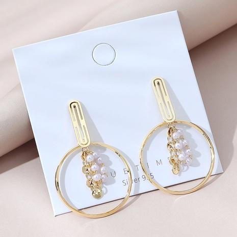 einfache vergoldete Retro Perlen Hohlohrringe NHPS309684's discount tags