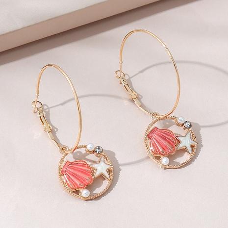 Mode kreative einfache Seestern Muschel Perlen Ohrringe NHPS309707's discount tags