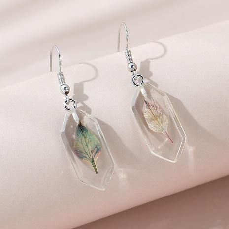 Korean simple leaf resin earrings NHPS309711's discount tags