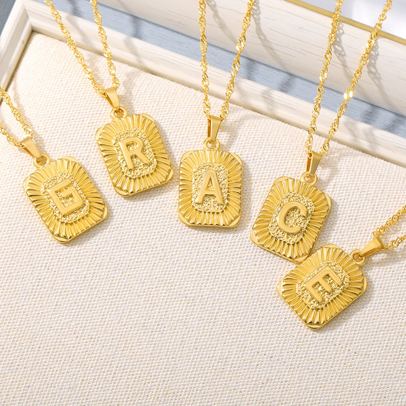 simple 26 Capital Letters Stainless Steel Necklace  NHMJ309725
