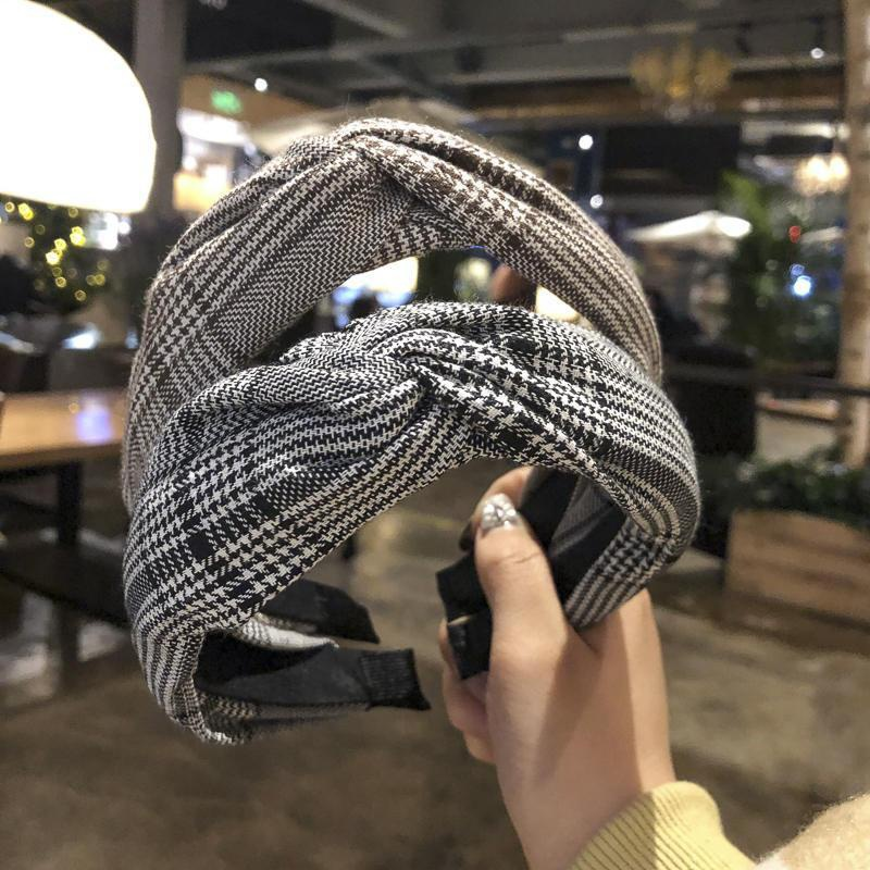fabric houndstooth wide side knotted headband NHAQ309811