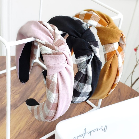 knotted color matching plaid headband NHAQ309826's discount tags