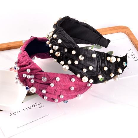diadema de moda de franela anudada con perlas NHAQ309875's discount tags