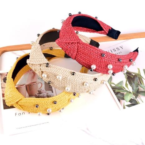 Perlenstroh geflochtene Mode Stirnband NHAQ309878's discount tags