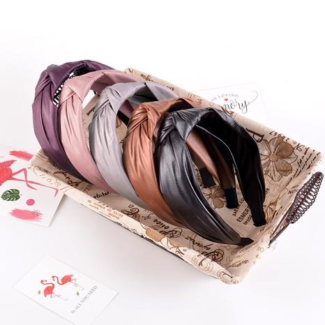 wide-sided simple PU leather headband  NHAQ309879's discount tags