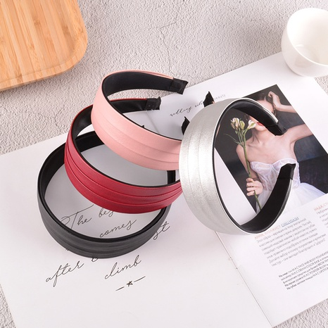 new fold pu leather solid color hair band  NHAQ309901's discount tags