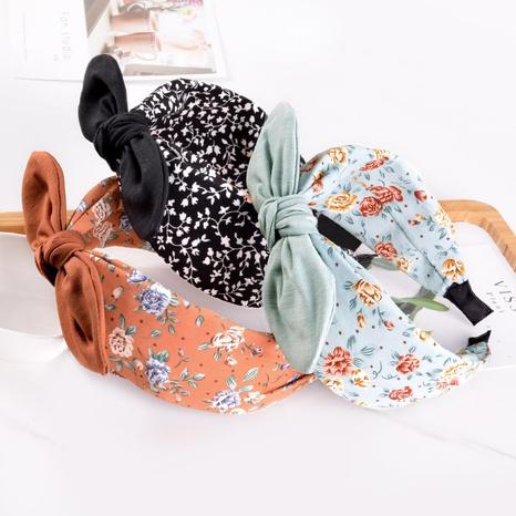 Korean simple floral bowknot rabbit ears headband  NHAQ309903's discount tags