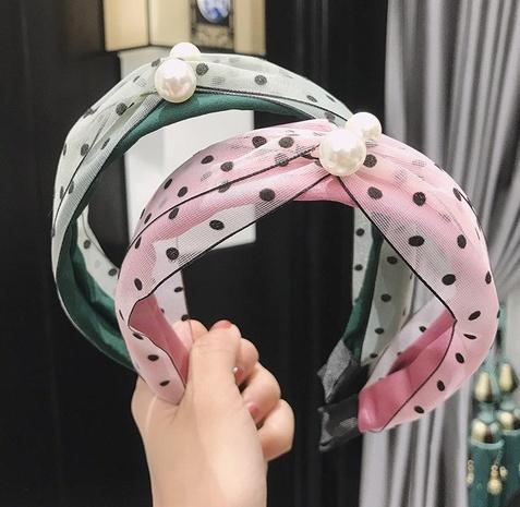 Korean fashion polka dot mesh pearl hair band NHAQ309906's discount tags