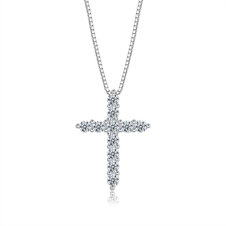 S925 Sterling Silver Cross Zircon Necklace NHKL309306's discount tags