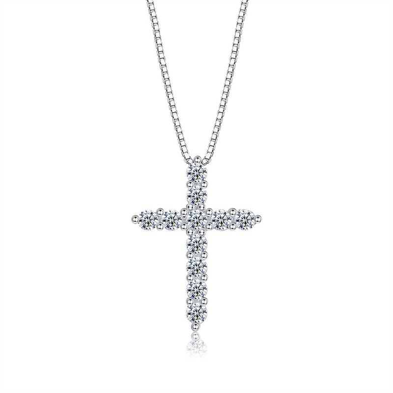 S925 Sterling Silver Cross Zircon Necklace NHKL309306