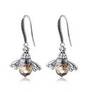 S925 sterling silver cute orange bee earrings NHKL309304