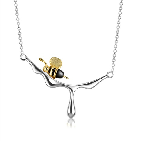 S925 sterling silver bee dripping honey necklace NHKL309298's discount tags
