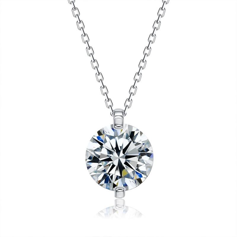 S925 sterling silver pendant rhinestone necklace NHKL309310