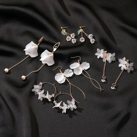 long crystal petal tassel earrings  NHDP309530's discount tags