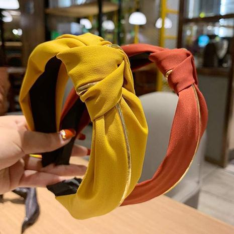 Koreanisches neues einfarbiges Stirnband mit breiter Krempe NHAQ310088's discount tags
