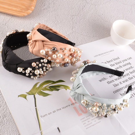 fashion pearl knotted solid color headband NHAQ310109's discount tags
