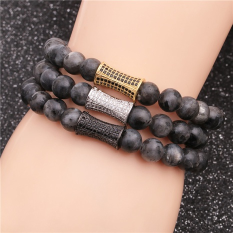 Black Stone Beaded Bracelet NHYL310119's discount tags