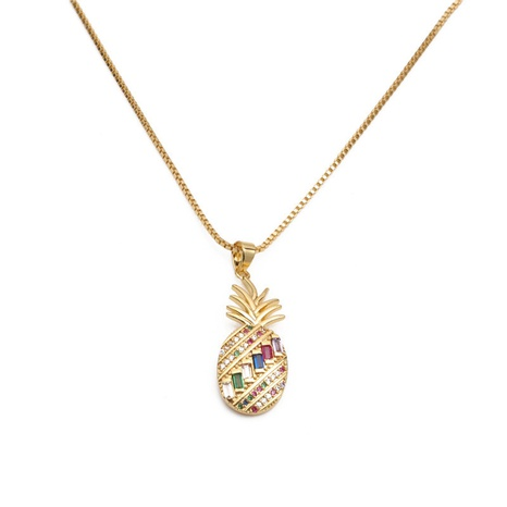 Korean micro-inlaid colorful zircon pineapple pendant necklace  NHYL310127's discount tags