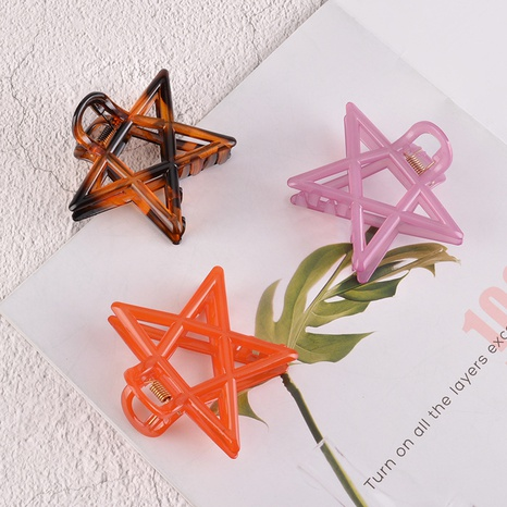 Korea frosted bath five-pointed star big hair clip NHAQ310136's discount tags