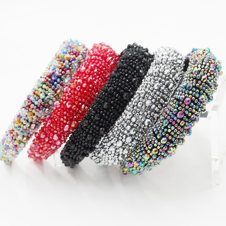 New Fashion Schwamm Kristall Partikelgröße Perlen Haarband NHWJ310159's discount tags