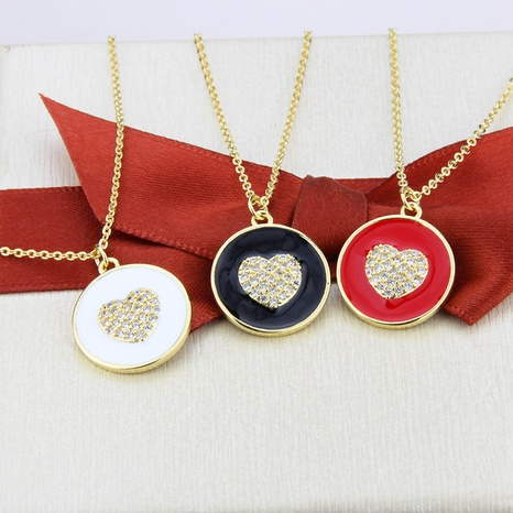 new round heart pendant necklace NHBP310170's discount tags