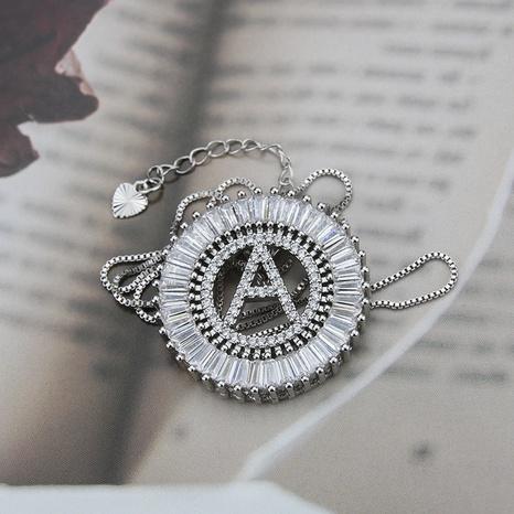 platinum 26 English alphabet inlaid zirconium necklace NHBP310173's discount tags