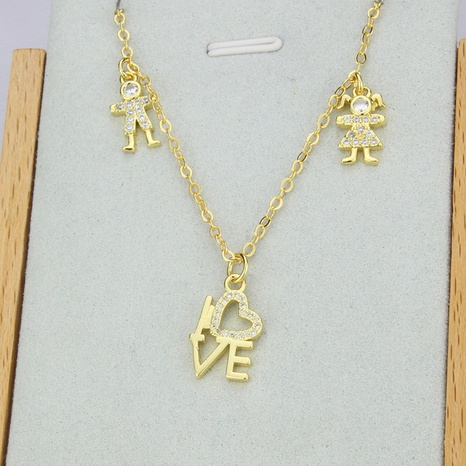 new inlaid zirconium LOVE gold-plated copper necklace NHBP310176's discount tags