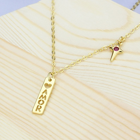 love tag copper necklace NHBP310177's discount tags