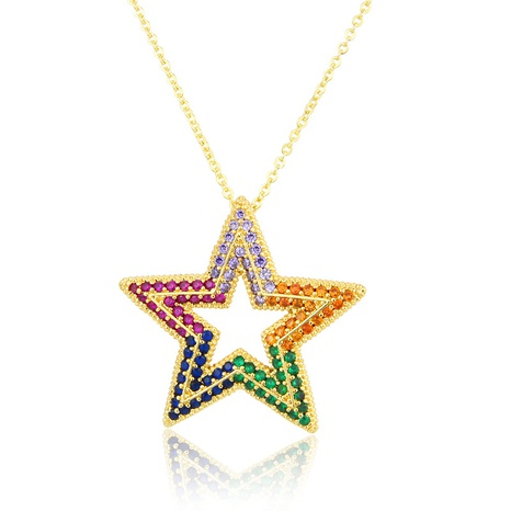 full diamond five-pointed star copper necklace NHBP310179's discount tags