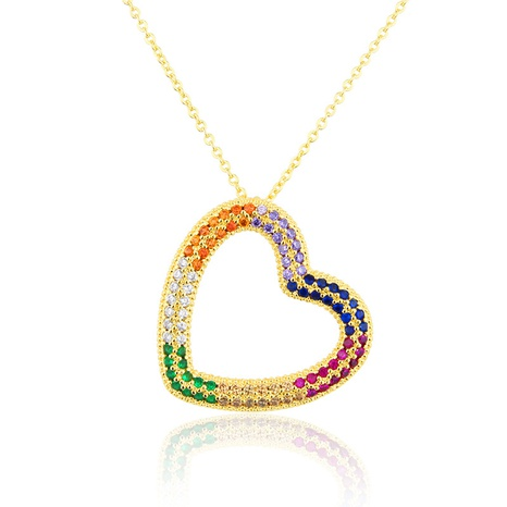 copper full diamond heart necklace  NHBP310178's discount tags