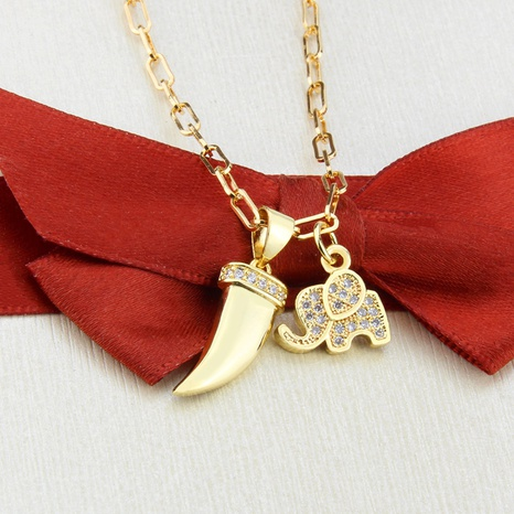 new simple tooth elephant necklace  NHBP310182's discount tags