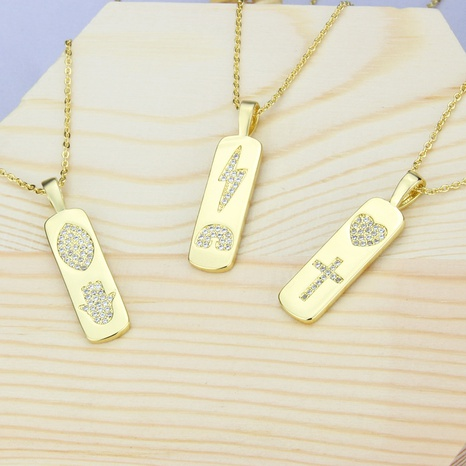 new rectangular tag diamond pendant necklace NHBP310190's discount tags