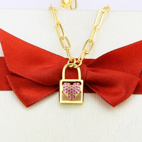 red zirconium heart-shaped lock necklace  NHBP310191's discount tags