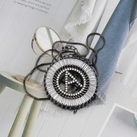 black 26 English alphabet inlaid zirconium necklace NHBP310192's discount tags