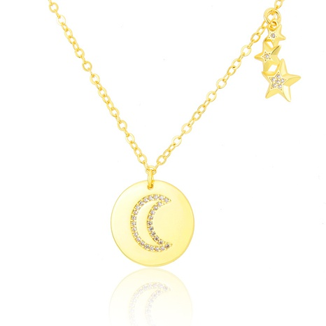 star and moon glossy round diamond necklace NHBP310194's discount tags