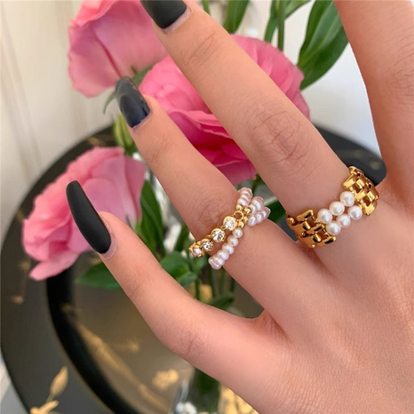 fashion metal simple pearl rhinestone stitching ring NHYQ310225's discount tags