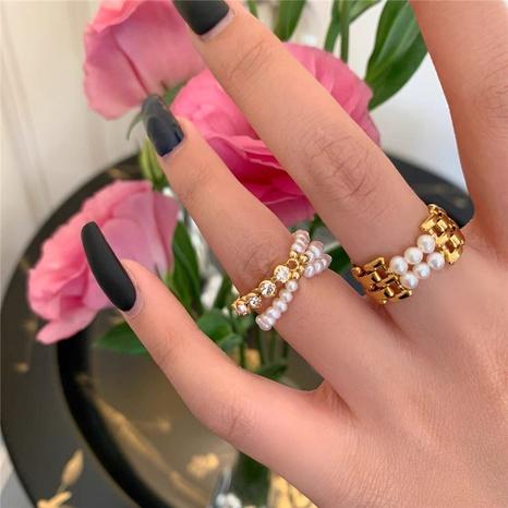 anillo de costura de diamantes de imitación de perlas simples de metal de moda NHYQ310225's discount tags