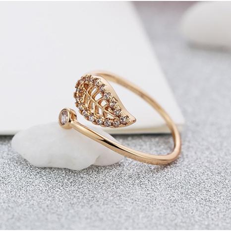 Korean fashion simple diamond leaf opening ring NHLJ310238's discount tags