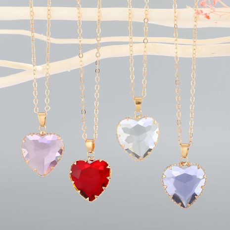 nouveau collier de cristal imitation d'amour simple NHGO310269's discount tags