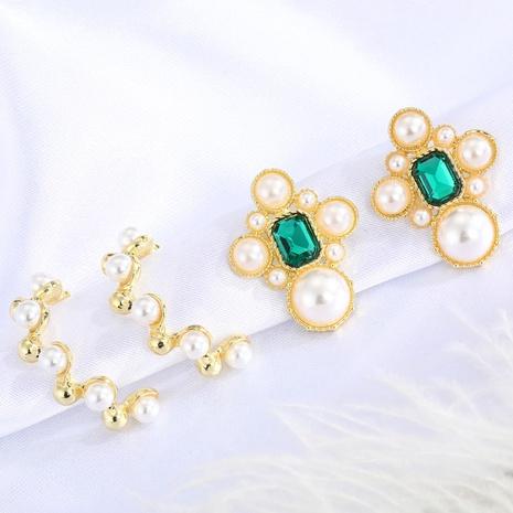 fashion retro green crystal earrings  NHGO310271's discount tags